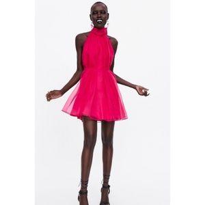 Zara pink mini organza dress